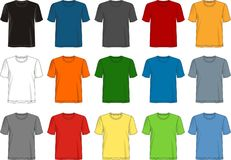 Design vector t shirt template collection for men. With color black white blue yellow red gray royalty free illustration