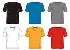 Design vector t shirt template collection for men 025. Design vector t shirt template collection for men with color black white blue yellow red gray Royalty Free Stock Photography