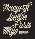 Vector typography new york london paris tokyo. Design Vector typography new york london paris tokyo for t shirt print vector illustration