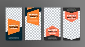 Design of vector vertical banners in black with a place for a photo and orange geometric elements for text. Web templates are standard size royalty free illustration