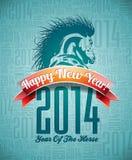 Design VectorVector för lyckligt nytt år 2014 med hästen och bandet Arkivfoton