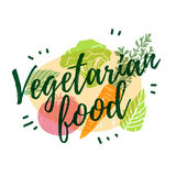 Design for vegetarian, healthy menu with the decor of a green, farm food. Modern style. Vector Stock Photo
