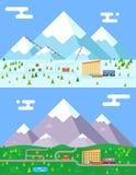 Design-Vektorillustration des Frühlingssommerwintersaisonbergdorfhotelerholungsortfeiertagsbusshops funikuläre flache Lizenzfreies Stockbild
