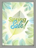 Design vertical banner with Spring typing logo, green and fresh Royalty Free Stock Photo