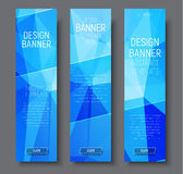 Design vertical banners with abstract blue  polygonal background Stock Photos