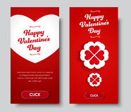 Design vertical banners Happy Valentine`s Day. Templates red flyer with a white heart, flower and buttons. Set. Vector illustration Royalty Free Stock Images