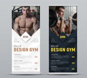 Design of vertical black and white vector roll-up banner with rh. Ombuses for photos. Template for business and advertising, a sample for the gym stock illustration