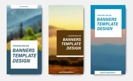 Design of vertical vector banners with place for a photo and squares for text. Web templates for business and sports. Set vector illustration