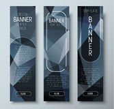 Design of vertical web banners with polygonal abstract black bac Royalty Free Stock Photography