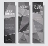 Design of vertical web banners. Template abstract gray polygonal Stock Image
