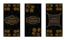 Design vintage booklets with gold floral patterns Stock Photos