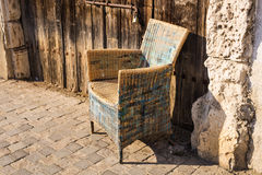 Design vintage furniture outdoor. Wicker chair Royalty Free Stock Image