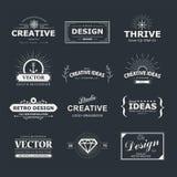 Design. Vintage vector design elements. Retro style typography labels, tags, badges, stamps, arrows and emblems set royalty free illustration