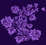 Design with violet flowers on purple Stock Photo