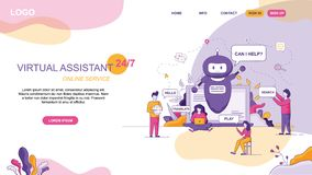 Design for Virtual Assistant Website Online stock illustration