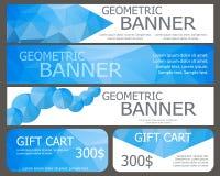 Design von Fahnen und von Gutscheinen mit blauen polygonalen Elementen Stockbild