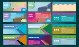 Design von Fliegern, von Fahnen, von Broschüren und von Karten Fahnenvektor Co Stockfotografie