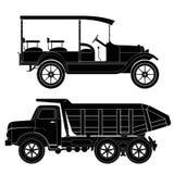 Design von Retro- und modernen Autoschattenbildern, automo Stockfoto