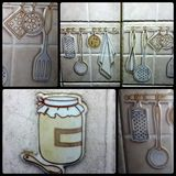 Design wall. Just beautiful  bottle utensils Stock Images
