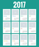 Design of Wall Monthly Calendar for 2017 Year. Print Template with Place for Photo, Your Logo and Text. Week Starts. Sunday. Set of 12 Months Royalty Free Stock Photos