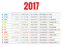 Design of Wall Monthly Calendar for 2017 Year. Week Starts sunday. Set of 12 Months. Stock Photos
