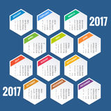Design of Wall Monthly Calendar for 2017 Year. Week Starts sunday. Set of 12 Months. Design of Wall Monthly Calendar for 2017 Year. Week Starts sunday. Set of Stock Photography