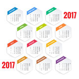 Design of Wall Monthly Calendar for 2017 Year. Week Starts sunday. Set of 12 Months. Design of Wall Monthly Calendar for 2017 Year. Week Starts sunday. Set of Stock Photos