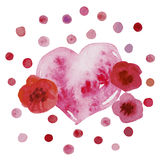Design with watercolor  heart and floral elements Stock Photo