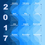 Design wave 2017 calendar template. Stock vector Stock Illustration