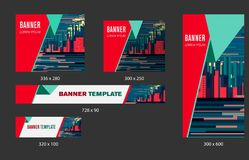 Design Web banners of different standard sizes. Templates with round place for photos, buttons. Vector illustration vector illustration