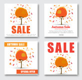 Design Web banners for sale. with autumnal tree with discounts. Design square banners for sale. Template Autumn trees from which the leaves fall off and discount royalty free illustration