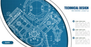 Design Web banners with a technical drawing of the compressor. Royalty Free Stock Image