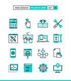 Design web, codificação, desenvolvimento responsivo, do app e mais planície ilustração stock