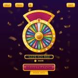 Design web do menu do casino com roda da fortuna ilustração stock