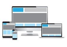 Design web inteiramente responsivo com dispositivo eletrónico Imagens de Stock