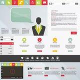 Design web liso, elementos, botões, ícones. Moldes para o Web site. Fotografia de Stock
