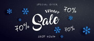 Sale banner background for New Year shopping sale.  70 off. Design with for web online Stock Images