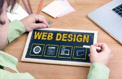 Design web Quadro na mesa de escritório de madeira Imagens de Stock