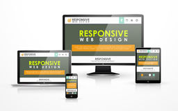 Design web responsivo em dispositivos diferentes Foto de Stock Royalty Free