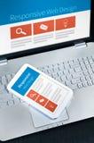 Design web responsivo em dispositivos móveis Foto de Stock
