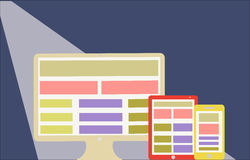 Design web responsivo no estilo liso da tela moderno  Fotos de Stock