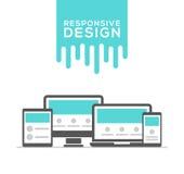 Design web responsivo nos dispositivos eletrónicos Imagem de Stock