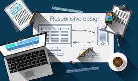 Design web responsivo que cria o vetor do processo Foto de Stock Royalty Free