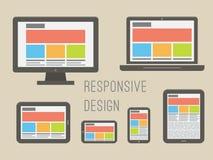 Design web responsivo Vetor liso do estilo ilustração do vetor