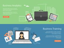Design for website of business training, analytics Royalty Free Stock Photos