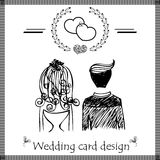 Design of wedding card on doodle sketch vector on white background Royalty Free Stock Images