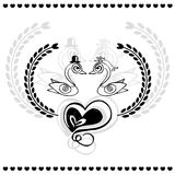 Design of wedding card on doodle sketch vector on white background Stock Photography