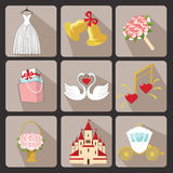Design wedding  icons for Web and Mobile.Retro Vector Royalty Free Stock Images