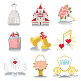 Design wedding  icons for Web and Mobile in Retro Vector Stock Photography
