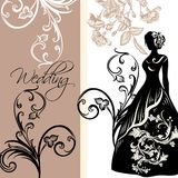 Design of wedding invitation with female silhouette Royalty Free Stock Image